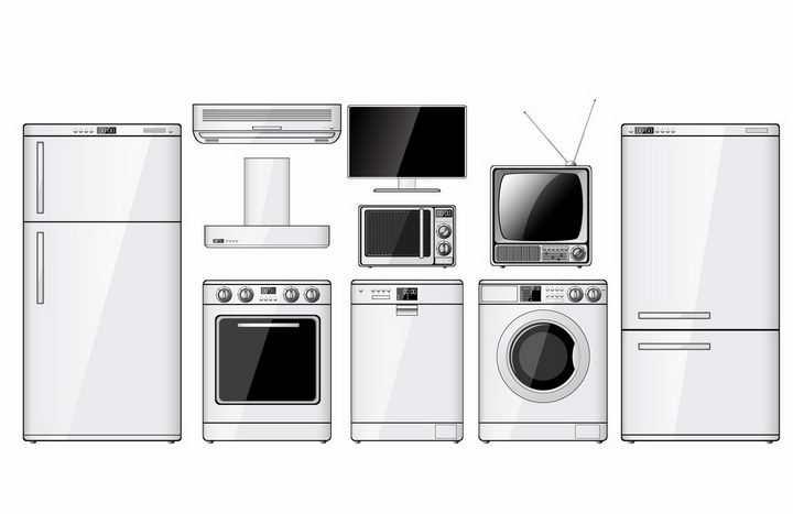 白色电冰箱抽油烟机烤箱洗衣机显示器电视机等家用厨房电器png图片免抠矢量素材