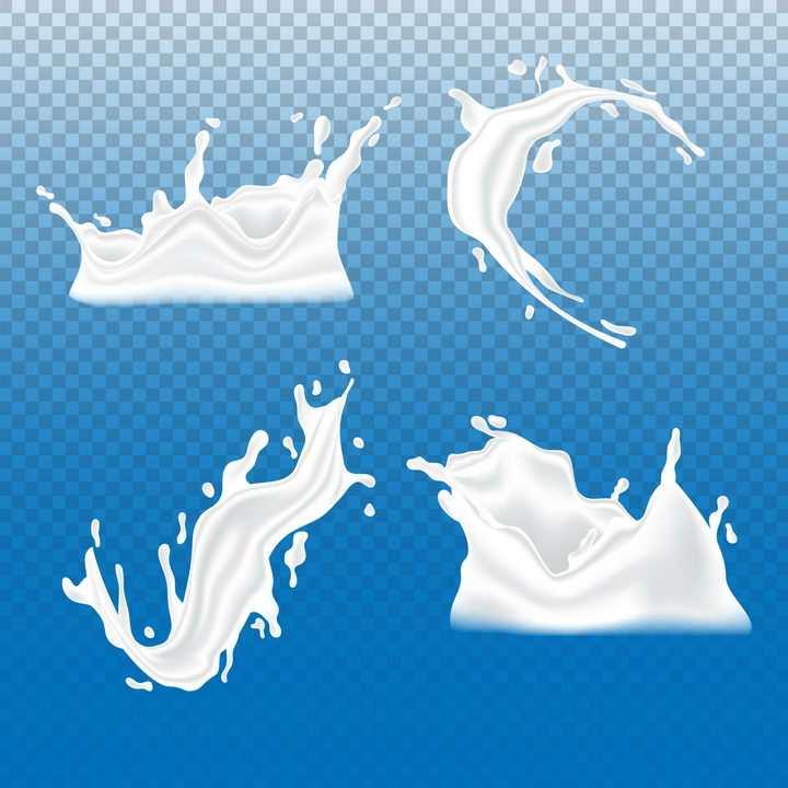 4款乳白色液体牛奶液滴滴落飞溅效果png图片免抠矢量素材