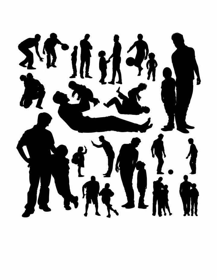 和儿子一起玩耍的年轻爸爸父子亲子人物剪影png图片免抠矢量素材