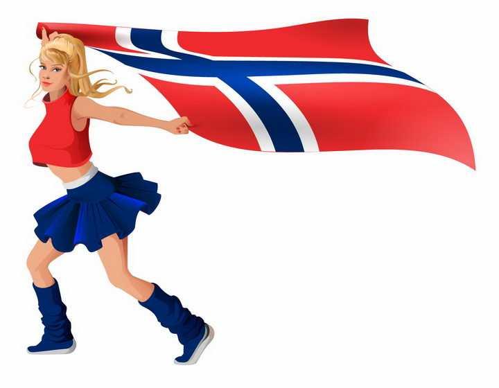 金发美少女啦啦队队员举着芬兰国旗png图片免抠矢量素材