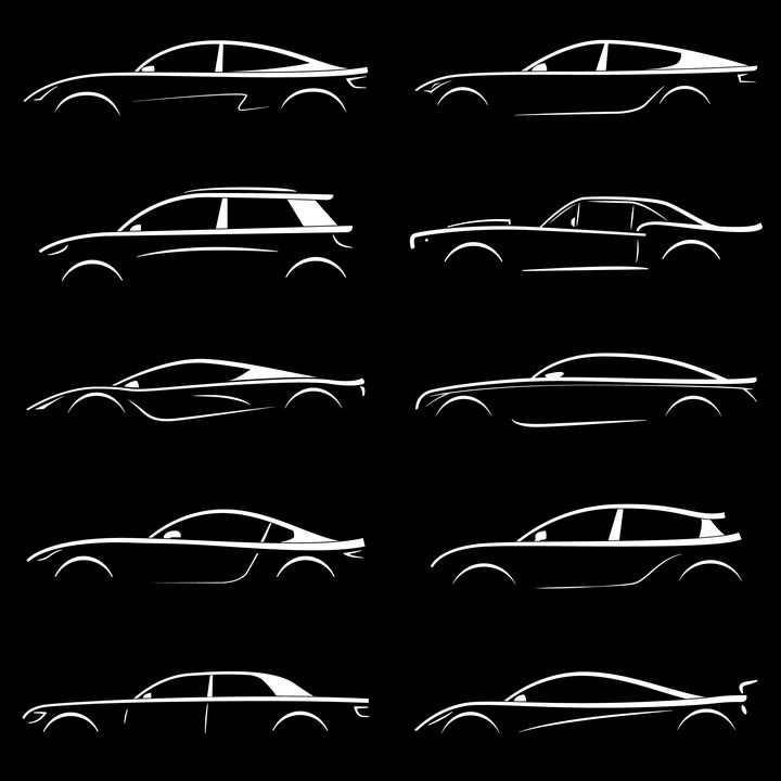 10款跑车汽车白色轮廓线条png图片免抠矢量素材