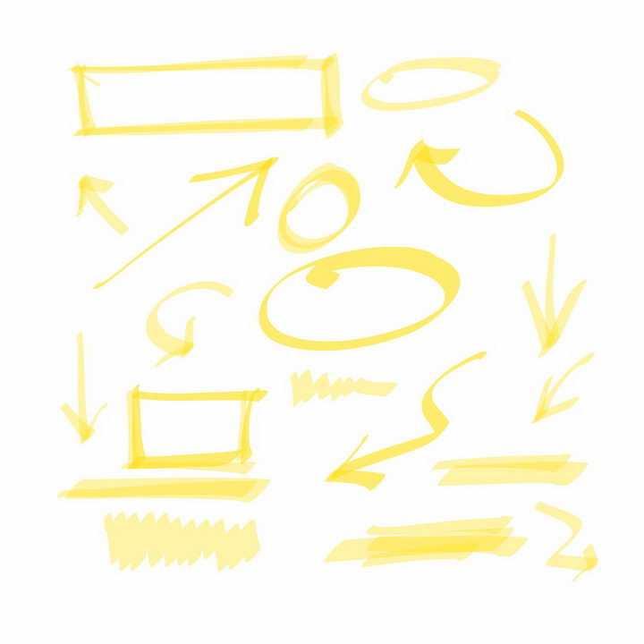 黄色涂鸦风格方框线条箭头png图片免抠矢量素材