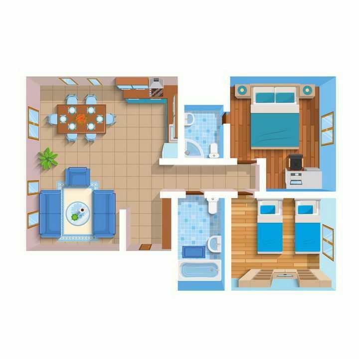 俯视视角的两室一厅两卫室内装修效果平面家具彩图png图片免抠矢量素材