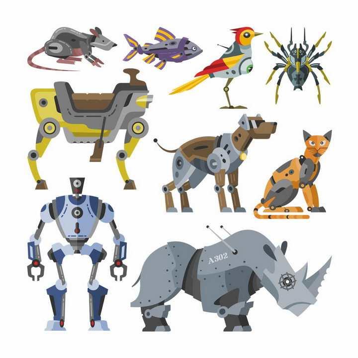 各种机器人机器狗机器猫机器鼠机器鱼机器蜘蛛机器鸟图片png免抠素材