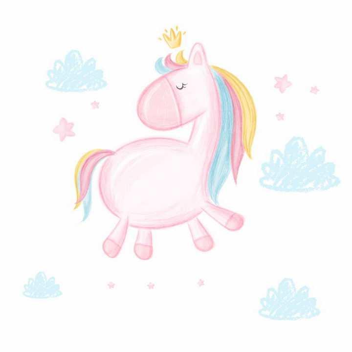 彩绘涂鸦风格可爱的卡通粉红小马png图片免抠矢量素材