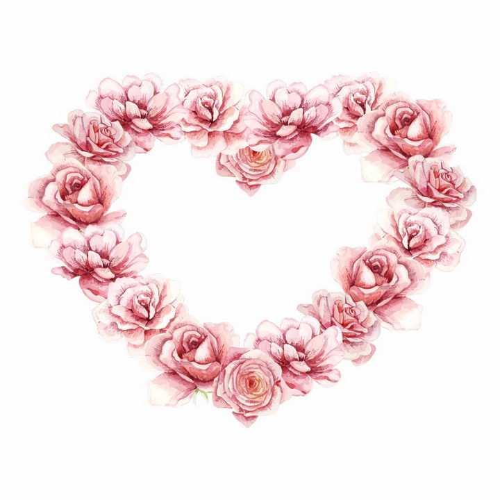 情人节彩绘玫瑰花拼成的心形红心图案png图片免抠矢量素材