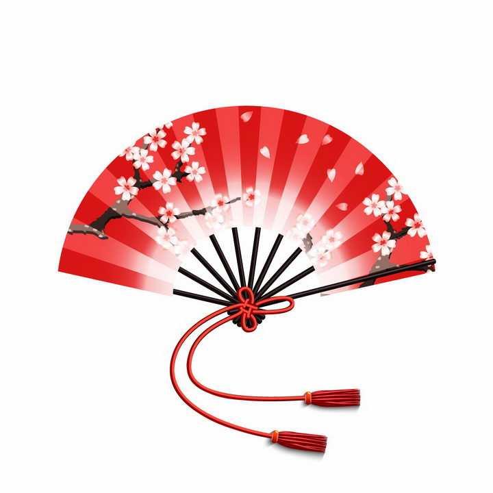 红色梅花图案的折扇png图片免抠矢量素材