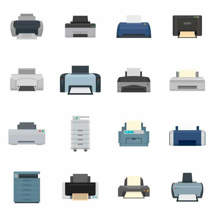 16款彩色喷墨打印机激光打印机等办公室用品png图片免抠eps矢量素材