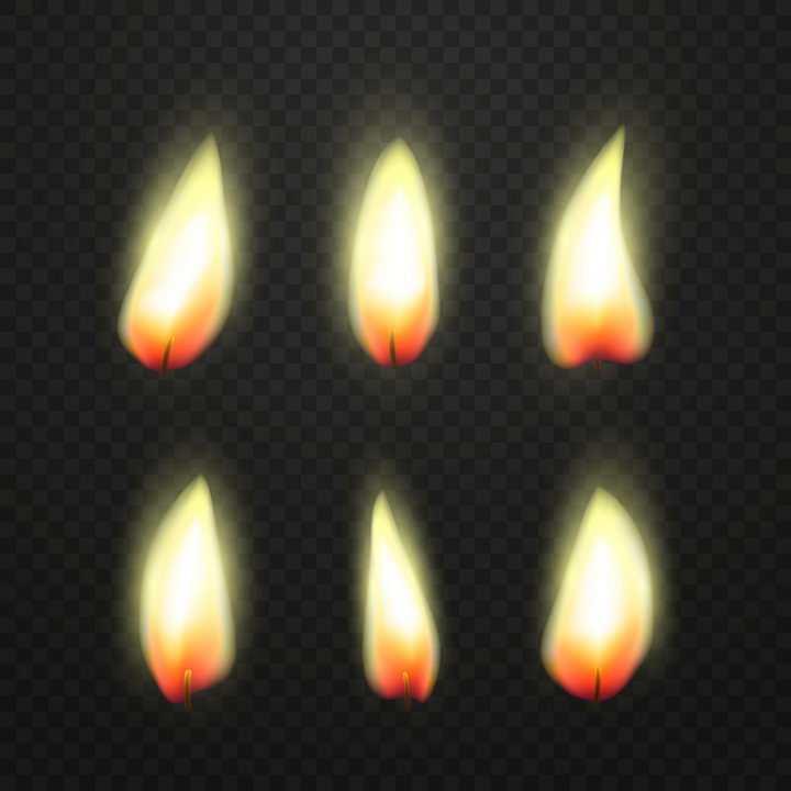 6款燃烧着的蜡烛火柴火苗png图片免抠矢量素材