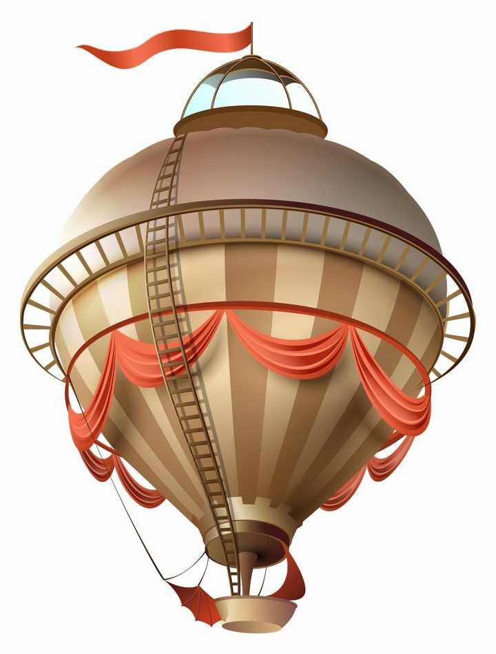 蒸汽朋克风格的热气球氢气球png图片免抠矢量素材