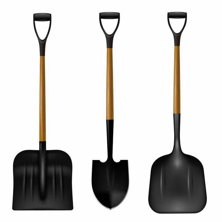 3款黑色的铁锹农业工具png图片免抠矢量素材