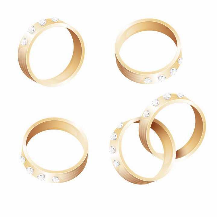 4款镶钻的结婚金戒指png图片免抠矢量素材