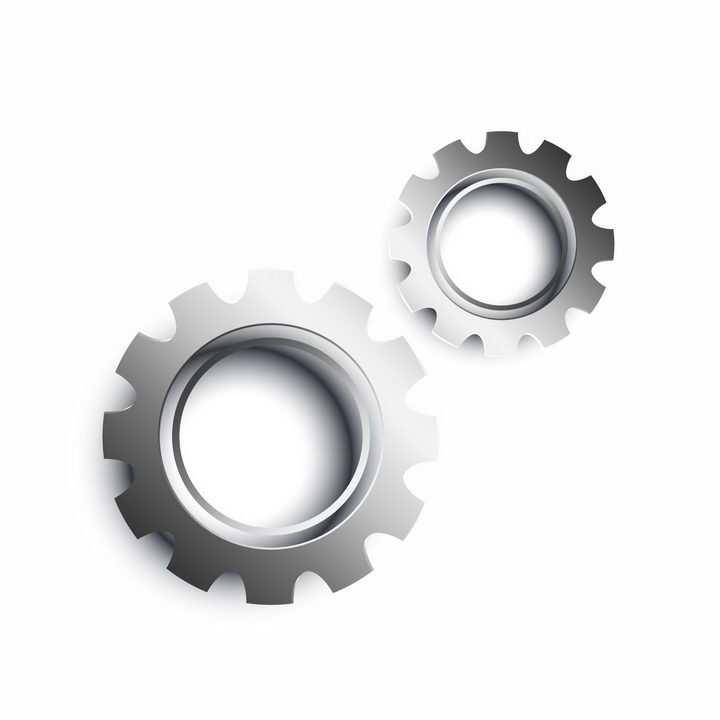 金属银色的两个齿轮png图片免抠矢量素材