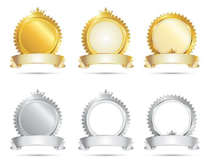金色和银色的皇冠装饰空白徽章设计图片免抠矢量素材