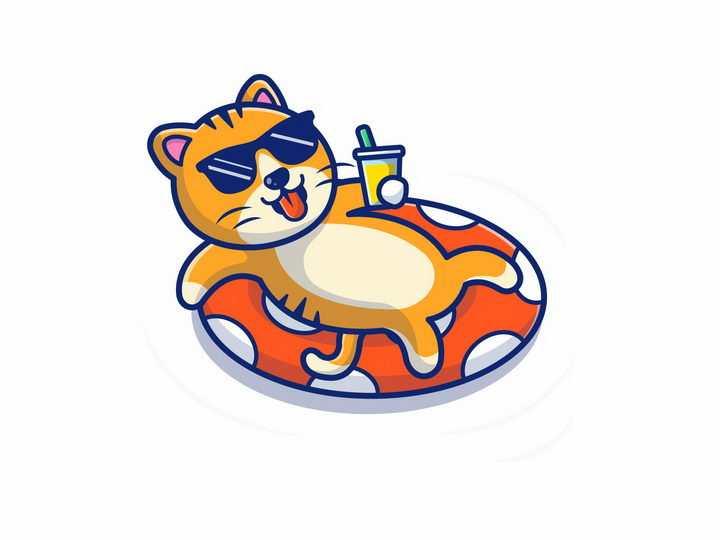 躺在游泳圈上喝着饮料的卡通猫咪橘猫png图片免抠矢量素材