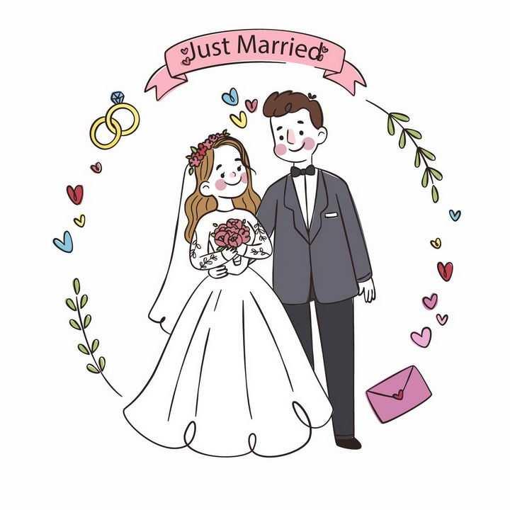 手绘卡通结婚穿婚纱的新娘和新郎订婚照png图片免抠eps矢量素材