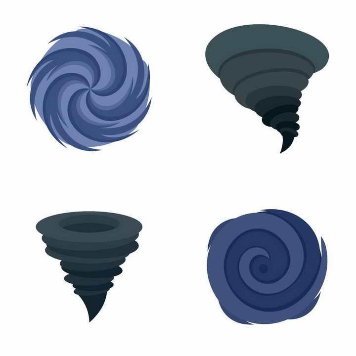 4款手绘风格龙卷风图案png图片免抠矢量素材