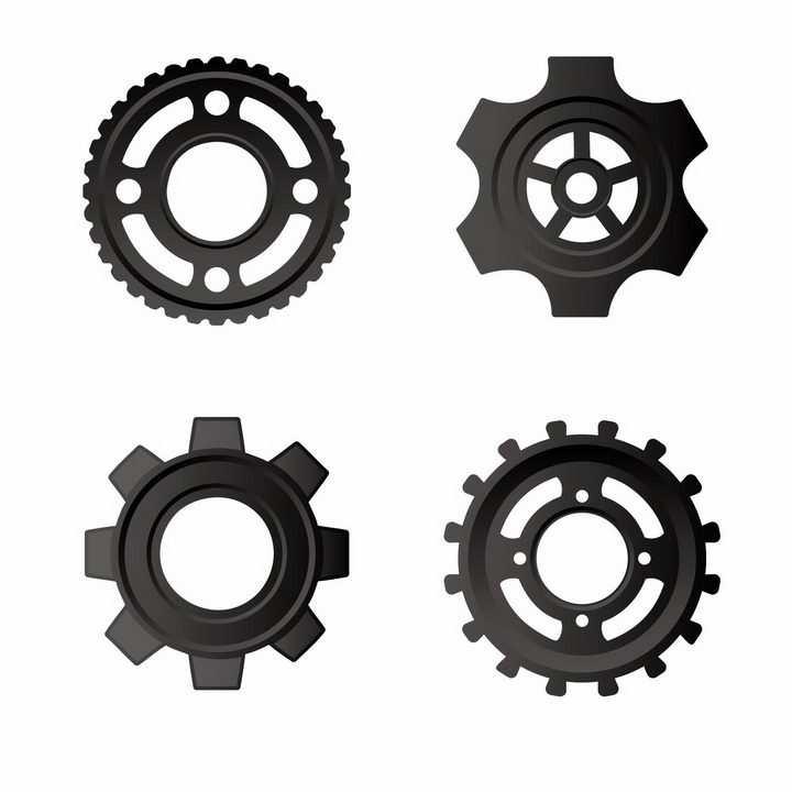 4款黑色金属风格的变速齿轮机械装置png图片免抠矢量素材