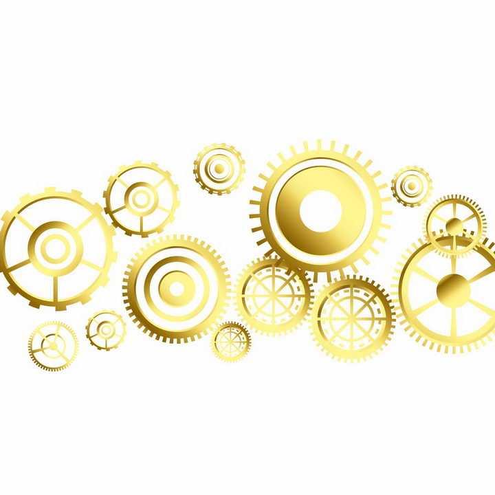 各种金色齿轮联动装置png图片免抠矢量素材