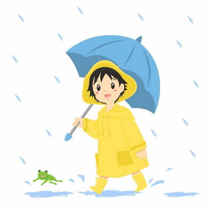 打着雨伞身穿黄色雨衣的小朋友在下雨天走路png图片免抠eps矢量素材