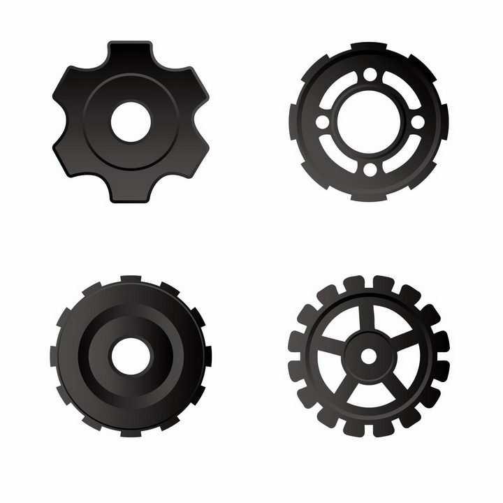 4款黑色金属色齿轮机械装置png图片免抠矢量素材