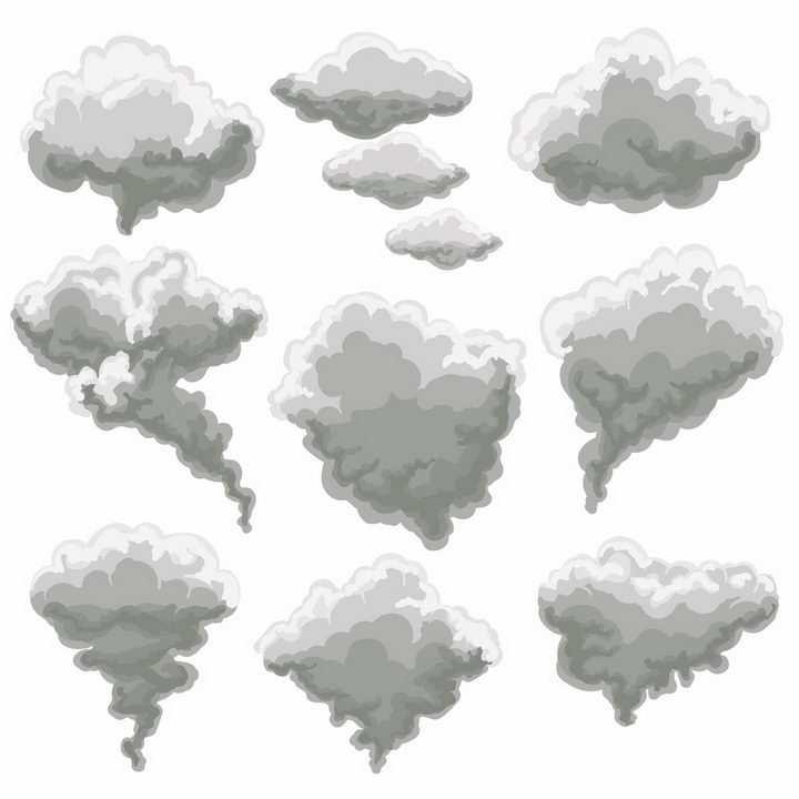 9款卡通漫画风格乌云云朵png图片免抠eps矢量素材