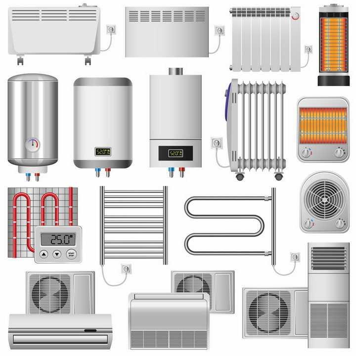 各种燃气热水器电热水器取暖器空调暖气片等冬天取暖设备png图片免抠矢量素材