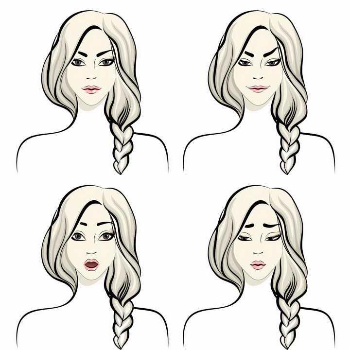 4款不同的眉毛形状对人表情的影响png图片免抠矢量素材