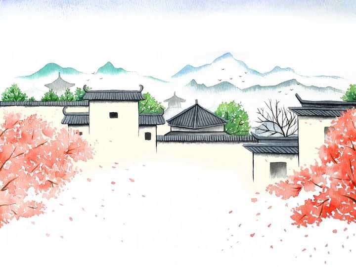 春天江南水乡的围墙和桃花png图片免抠素材