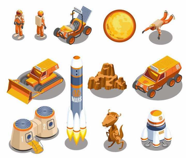 橙色宇航员火星探测车推土机火箭生活舱火星探索png图片免抠eps矢量素材