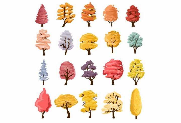 20款秋天叶子变黄的大树png图片免抠矢量素材