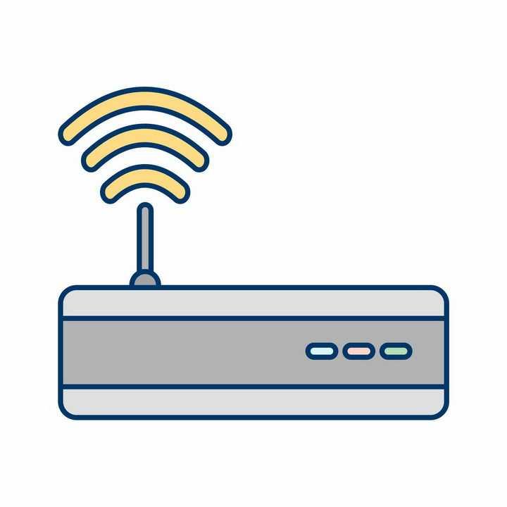 简约线条路由器发射wifi信号png图片免抠ai矢量素材