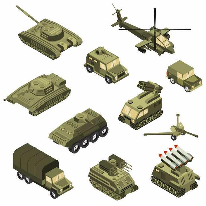 2.5D风格坦克吉普车装甲车卡车高射炮火箭炮直升飞机等武器装备png图片免抠eps矢量素材