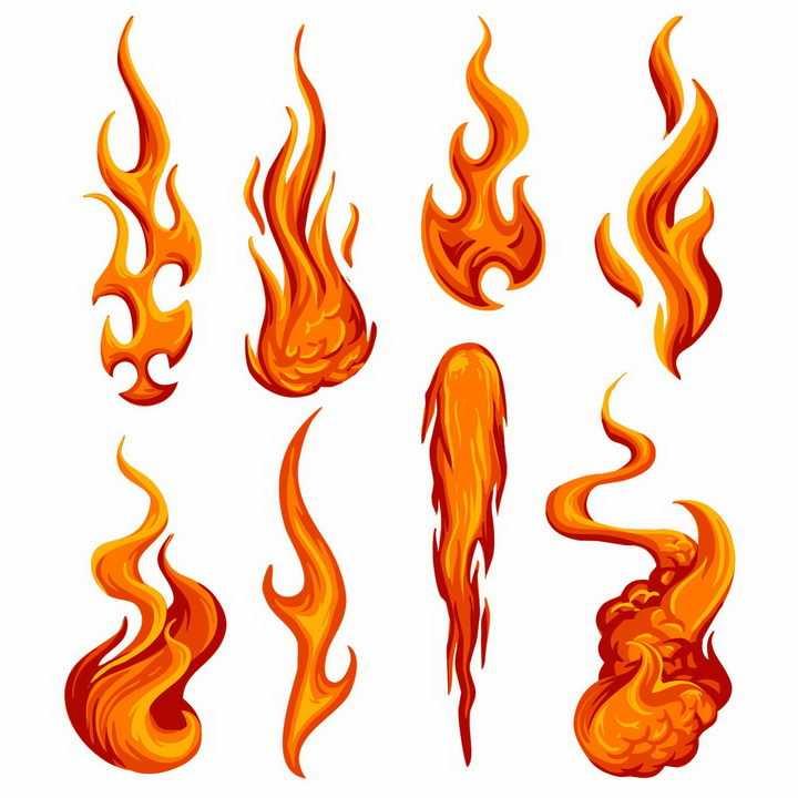 漫画风格8款火红的火焰燃烧效果png图片免抠矢量素材