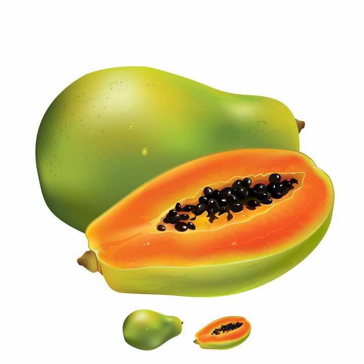 切开的木瓜美味水果横切面png图片免抠矢量素材