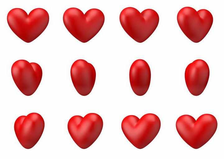 不同角度的立体红心红色心形符号图案情人节png图片免抠eps矢量素材