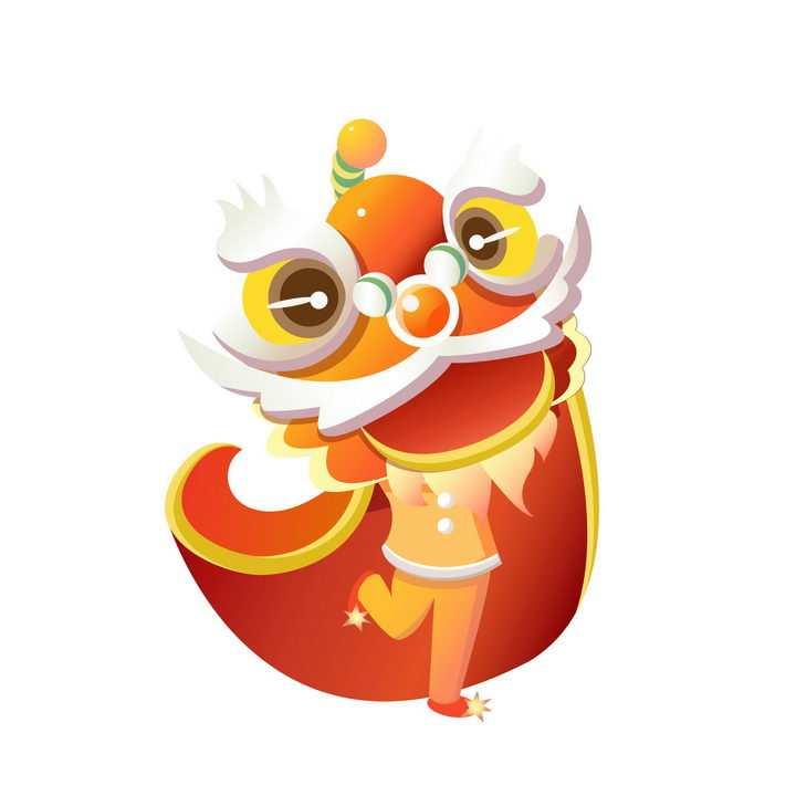 新年春节卡通舞狮子表演png图片免抠素材