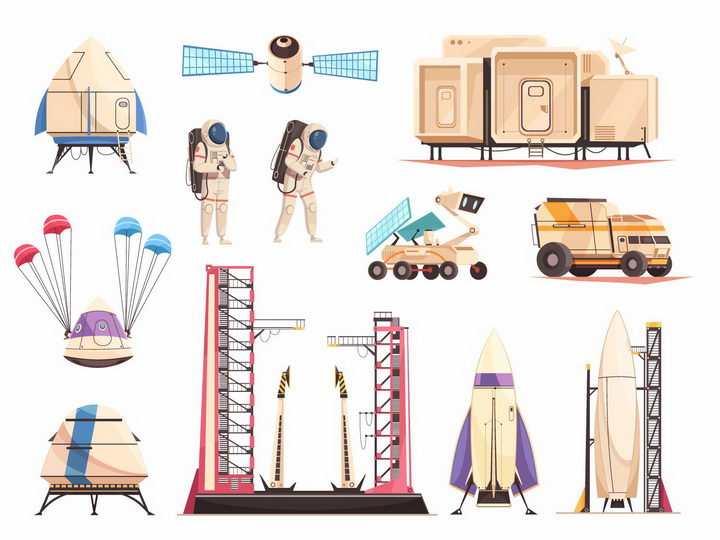 火箭发射平台火星着陆车宇航员生活舱等火星探索png图片免抠eps矢量素材