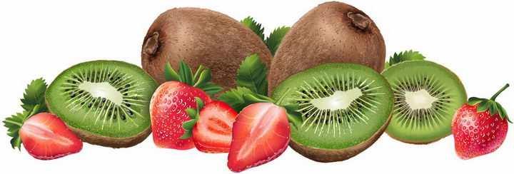 切开的猕猴桃奇异果草莓美味水果横切面png图片免抠矢量素材