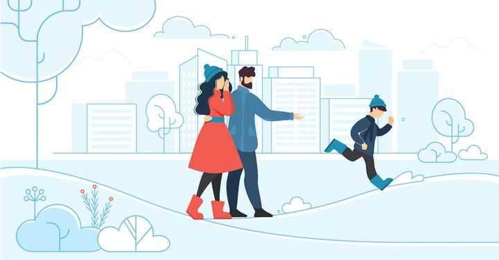 扁平插画风格冬天里和爸爸妈妈一起郊游的小男孩png图片免抠矢量素材