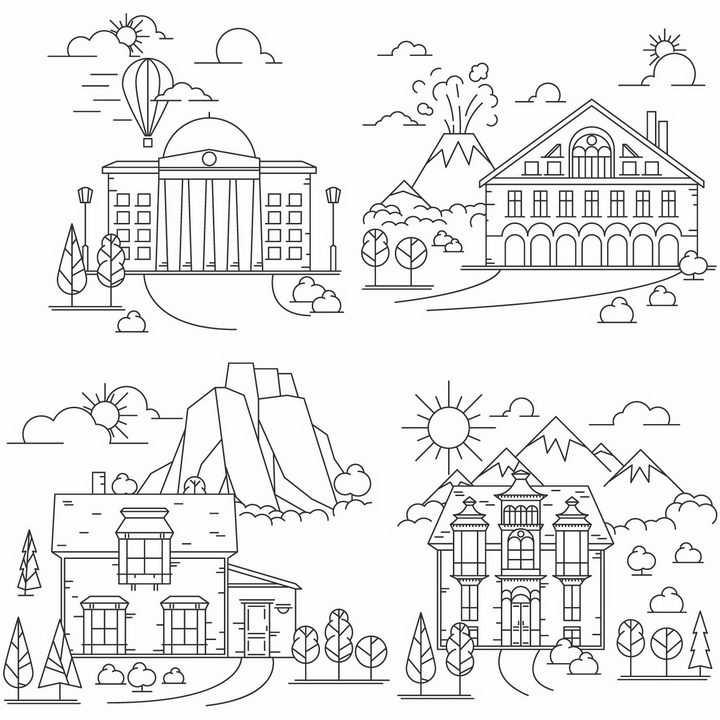 4款市政府大楼城堡别墅简笔画png图片免抠矢量素材