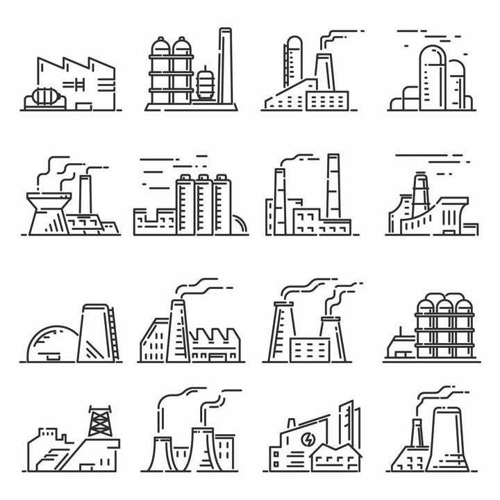 16款MBE线条风格化工厂发电厂png图片免抠矢量素材
