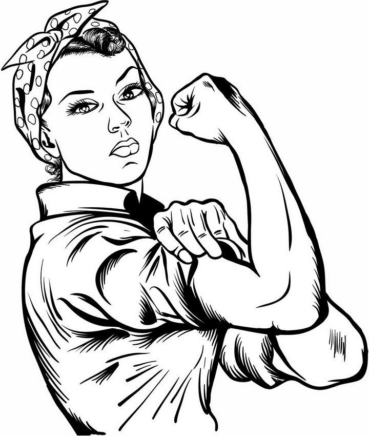 手绘展示肌肉的女人妇女能顶半边天png图片免抠矢量素材 简笔画-第1张