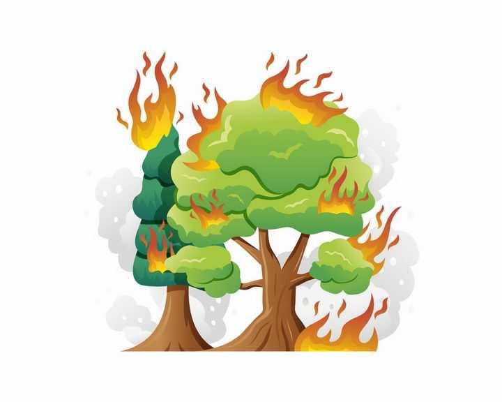 燃烧的大树森林大火自然火灾png图片免抠eps矢量素材