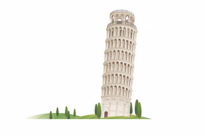 卡通风格比萨斜塔意大利旅游景点png图片免抠矢量素材