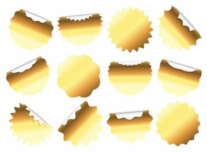 各种圆形形状的金色贴纸不干胶标签png图片免抠eps矢量素材