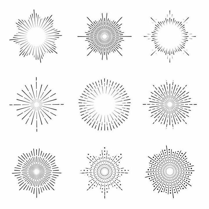 9款点线结合风格多边形放射线烟花线条图案png图片免抠矢量素材