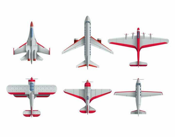 银色红色相间的战斗机大型客机螺旋桨飞机等飞行器png图片免抠矢量素材