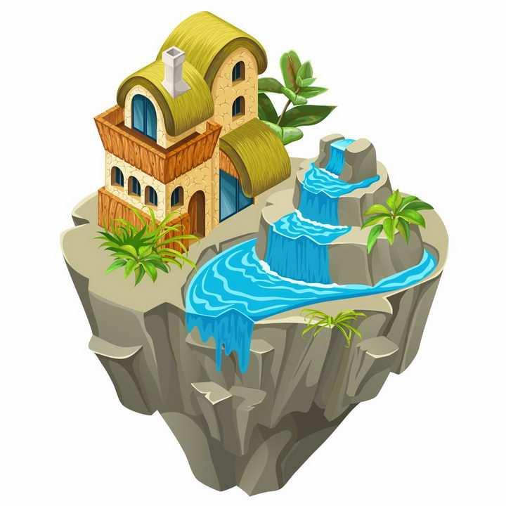 别墅水池瀑布浮空岛悬空岛风景png图片免抠矢量素材