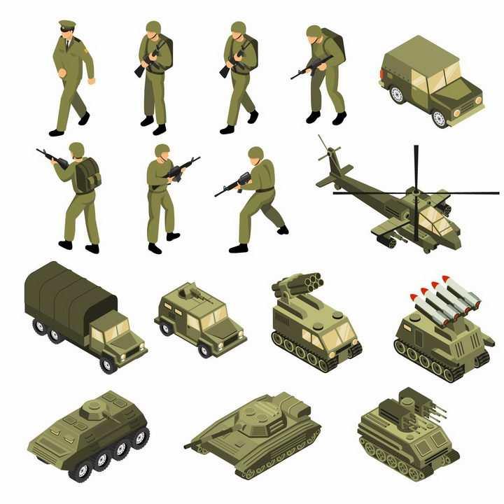 2.5D风格士兵吉普车直升飞机卡车火箭炮装甲车高射炮坦克等武器装备png图片免抠eps矢量素材
